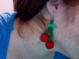 Crochet cherry earrings by jelc85