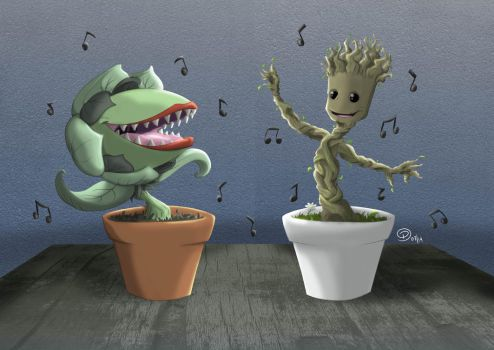 Audrey II and Groot by FelipeDS