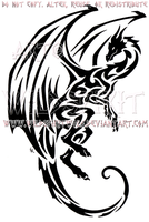 Hovering Tribal Dragon Design by WildSpiritWolf