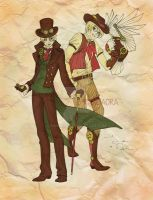 Steampunk Hetalia: England and America by pandaora