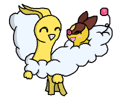Shiny Altaria and Tepig by PinkVaporeon