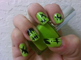 Frankenstein Nail Art by MissDaniLips