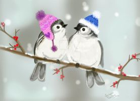 Cute winterbirds by Jniq