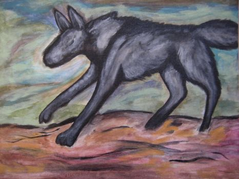Black Wolf, Red Desert by TheHellPuppi