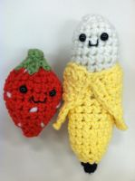 Amigurumi Strawberry and Banana by NerdStitch
