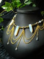 Opalite Point Drape Necklace by BacktoEarthCreations