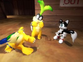 Koopa pancake and blackie Tails by Aso-Designer