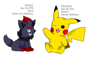 Pikachu and Zorua by fire-ice-n-lightning