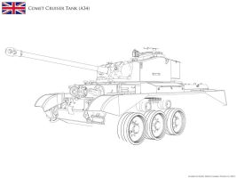 :WIP: A34 Comet Cruiser Tank - Lineart by KodyYoung