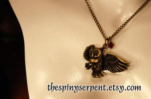 Flying Owl Necklace by kittykat01