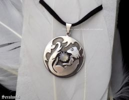 'Playful ferret', handmade sterling silver pendant by seralune