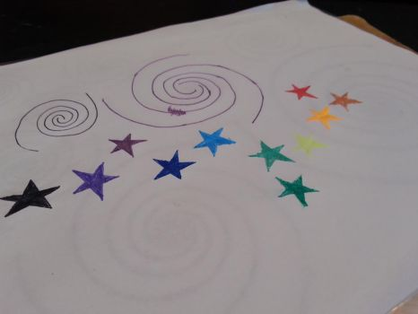 rainbow5pointed stars and 3 arm spiral by spiralcosmosart