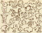 Cute Animal Sketches by ErikDePrince