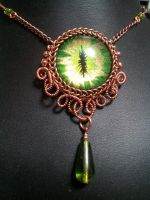 Earth Eye in Copper Coiled Wire with Green Drop by BacktoEarthCreations