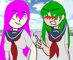 Midori x Mai~Fighting over the Dev by Planet-Moonlight