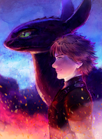 Hiccup and Toothless ready for battle by kiasherria