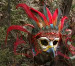 Crimson Gryphon Leather Mask by windfalcon
