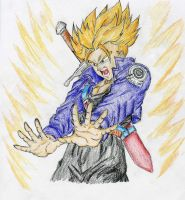 SSJ Trunks Burning Attack by aguo777
