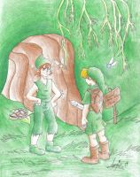 Kokiri Forest: Mido stops Link by Snowflake-owl