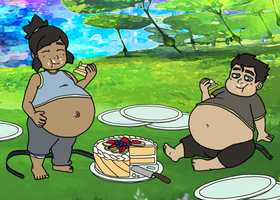Lil Korra and Bolin Spirit Cake WG by Mothman64