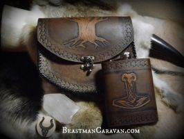 Tree pouch and Mjolnir Flask by The-Beast-Man