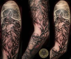 Heart Skull Armsleeve session7 by 2Face-Tattoo