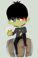 chibi Murdoc with beer by crystall0veslink