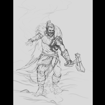 Bear Warrior - Lines - Stage 1 by drbjrart