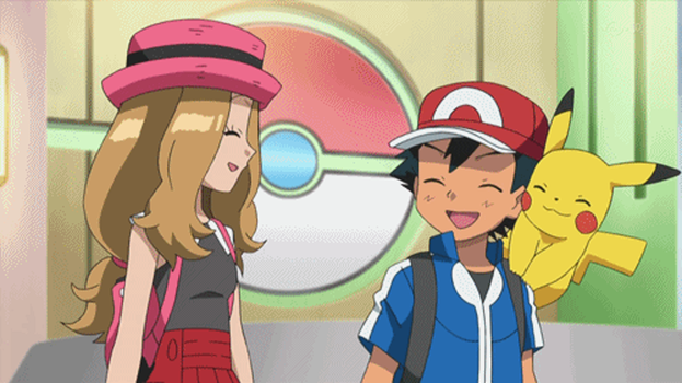 Ash and Serena smiles each other by WillDynamo55