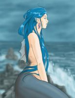 Mermaid on a rock by Maqqy96