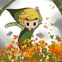 Link jumping in Leaves by Icy-Snowflakes
