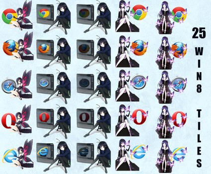 Accel World Browser Icons/Win 8 tiles by My-Freedom-In-Art