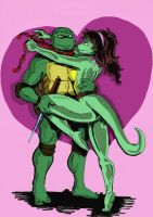 Raph X Mona. Coloured version by Deviata