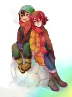 Hiroto and Endou in snow by AkiruNyang