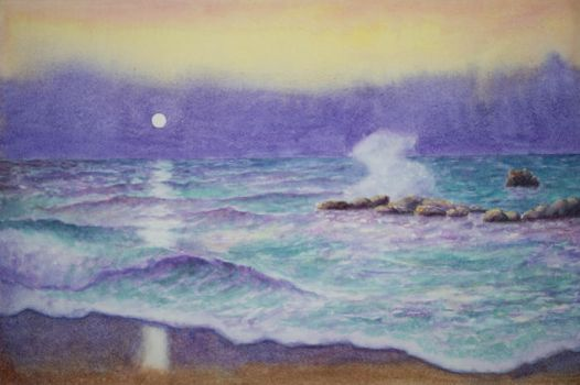 Seascape in yellow and purple by EinarAasen