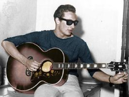 Buddy Holly goes acoustic colorized by OldHank