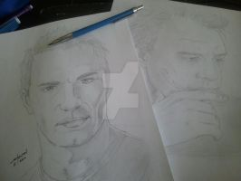 Sam Witwer and Heath Leger portraits (WIP) by StevenWilcox