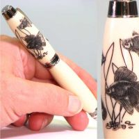 Goldfish Laser Engraved Faux Ivory Pen by woodenpenworks