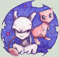 mew and mewtwo by LazyTurtle