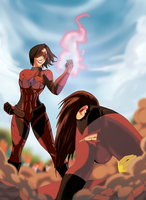 Red Olympian vs Mistress Menace by Freefall42