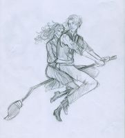 Scorpius y Rose riding a broom by Hillary-CW