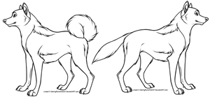 Cartoon dog Line art(s) -1- by NinjaKato