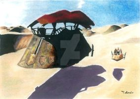 Jabba's Sail Barge Sketch Card by TolZsolt