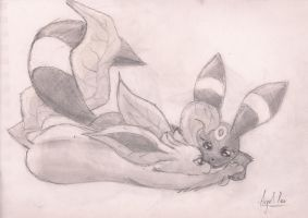 Leafeon and Umbreon lying down by fuegodelalma