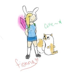 fionna and cake tablet drawing by JUSTWHIT-LOVE6033