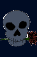 Skull with Black Roses by DradonX90