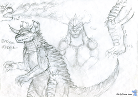 Baragon Redesign sketches by DracoIness