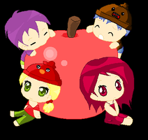 Chibis On a Big Apple (: by AnimeExtremist