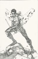 11X17 penciled Nightwing now for sale by Ace-Continuado
