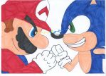Mario VS Sonic by filibolt